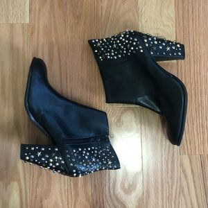 Zara Leather Embellished Ankle Boot